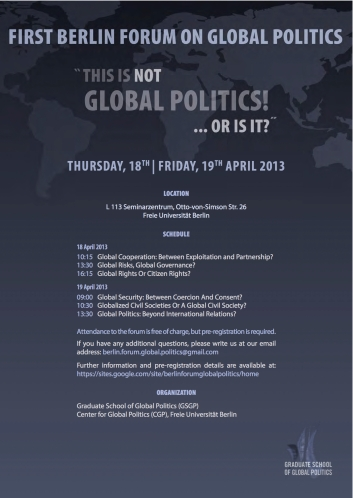 Invitation to pre-register for the Berlin Forum On Global Politics